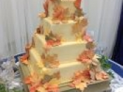 4 tier fall flowers cake
