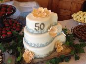 50th bday wedding cake gray trim