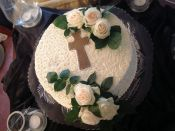 cross cake with flowers